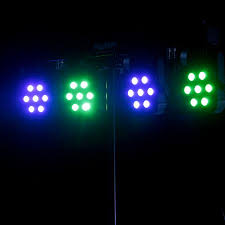 LED fourbar, flat 7 x 3 watt